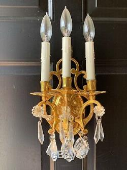 PAIR Vintage French Colonial Crystal Brass 3 Light Wall Sconce Lamp Sconces