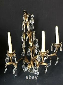 PAIR Vintage Gold Gilt TRIPLE CANDELABRAS Lights Antique WALL Sconces PRISMS
