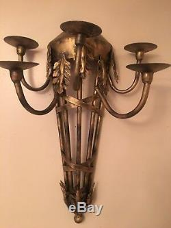 PAIR Vintage Huge Massive Wall Candle Sconces 5 Arms Wall Decor Gothic 24x 17