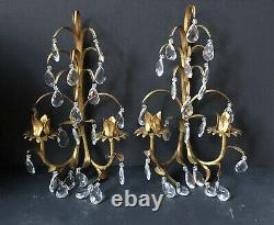 PAIR Vintage ITALIAN ITALY Gold Gilt CANDELABRAS Lights Antique WALL Sconces