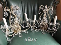 PAIR Vintage Italian Crystal Macaroni Beaded Directoire Chandelier Wall Sconces