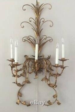 PAIR Vintage Italian Crystal Wall Sconces 39 5 light Wall Chandelier Tole