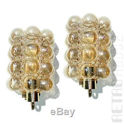 PAIR Vintage Wall Lights Lamps Sconces Bubble Amber Glass Mid-Century Modern
