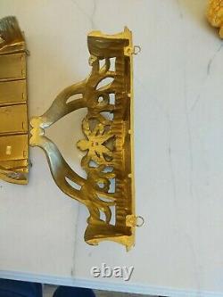 PAIR Vtg Gold BOW Wall Sconces SHELVES Antique ITALIAN Plastic Italy ormolu gilt
