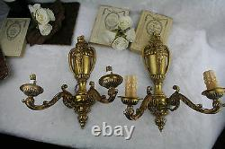 PAIR antique FRENCH bronze gold gilt wall lights sconces satyr devil heads 1925