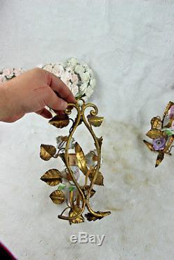 PAIR antique French metal gold gilt porcelain flowers sconces wall lights