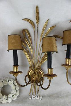 PAIR hollywood regency 1970 wood gold gilt wheat sheaf sconces wall lights