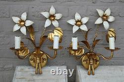 PAIR mid century wall lights sconces metal gold gilt floral attr. Maison jansen