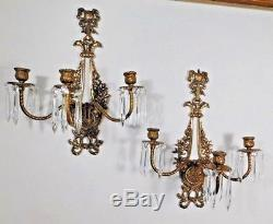 PAIR of French Antique Brass & Crystal Triple Candle Wall Sconces Ribbons Birds