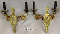 PAIR of Vintage DORE BRONZE French Classical EMPIRE SWAN Two Light WALL SCONCES