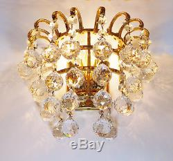 PALWA charming gilt brass WALL SCONCES with Faceted CRYSTAL BALLS Germany 1960s