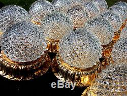 PETITE GILT CRYSTAL LIMBURG LABELED SCONCE WALL CEILING FLUSH LAMP 1960s 60s