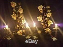 PR Antique Gold Regency Ornate Tole Wall Sconces Electric Light Candelabra ITALY