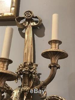 PR Palace Vintage French Classic STYLE BRONZE WALL SCONCES Gilt 5 Arm Sconce 42