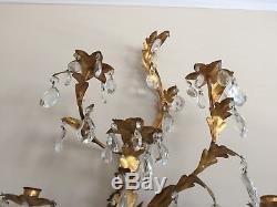 PR Vtg ITALIAN FRENCH GOLD GILT CANDLE HOLDER WALL SCONCES CRYSTAL X Large 32