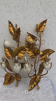 Paar Wandlampe n Florentiner Italian Gilt Tole Gold Wall Sconce XL