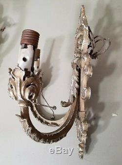 Pair 13 Antique 1920s Solid Brass or Bronze Double Wall Sconce Light Fixtures