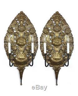 Pair 18th Century Repoussé Wall Sconces Large 30 Dutch Brass Antique Fixture