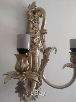 Pair 1900s Victorian Solid Bronze Electric Wall Sconces Two Arm Rococo Louis XV