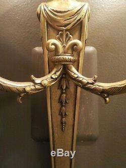 Pair 1920's Stunning French Empire/Neoclassic Bronze/Brass Wall Sconces