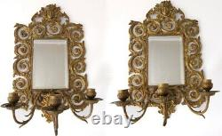 Pair 19th Century French Rococo Wall Mirrors. Brass Lady Face & Triple Sconces