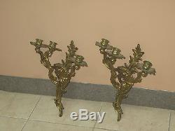 Pair @ 2 Vintage Antique Gilt Iron Bronze Wall Sconces Candle Holders 15 Rococo