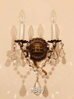 Pair 2 Vintage Brass Wall Sconces Ornate w Prisms Crystals