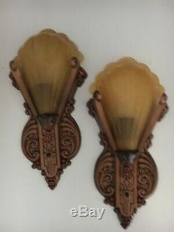 Pair 30s Art Deco Signed Riddle Slip Shades Amber Antique Wall Sconce Fixtures