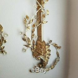 Pair 38 Tall Italian Gold Gilt Carved Wood Column and Tole Flower Wall Sconces