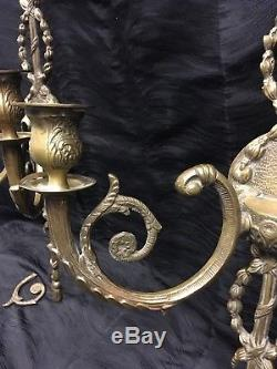 Pair Antique 25 French Gilt Bronze Brass Wall Candle Sconces LOUIS XVI Style