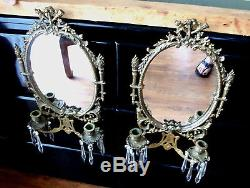 Pair Antique Brass/Bronze Oval Mirror Double Arm Candle Wall Sconces w Prisms