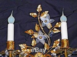 Pair Antique Etched Rock Crystal Gold Gilt Floral Tole Italian Wall Sconces