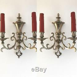 Pair Antique French 2 Arm Candle Sconce Wall Lights Gothic, Church, Deco Looking