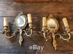 Pair Antique French Beveled Mirror Sconces Electric Wall Lights Candle Holders