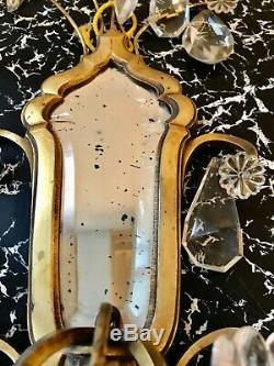 Pair Antique French Beveled Mirror Sconces Electric Wall Lights & Crystals