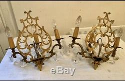 Pair Antique French Crystal 3 Arm Candle Sconce Electric Wall Lights Beautiful