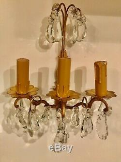 Pair Antique French Crystal Sconces Electric Wall Lights Treble Candle Holder