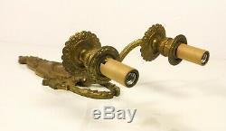 Pair Antique French Gilt Ormolu Edwardian Garland 2 Arm Electric Wall Sconces