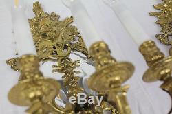 Pair Antique French Louis XIV 3-Arm Gilt Bronze Sconces (wall lamps), c. 1880