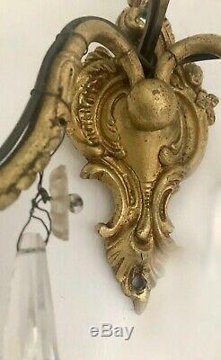 Pair Antique French Original Crystals 2 Arm Candle Sconce Electric Wall Lights