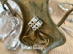 Pair Antique French Ornate Crystal 3 Arm Candle Sconce Electric Wall Lights