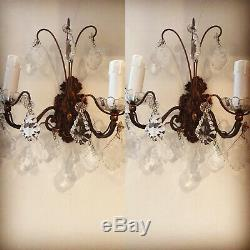 Pair Antique French Ornate Double 2 Crystal Candle Sconce Electric Wall Lights