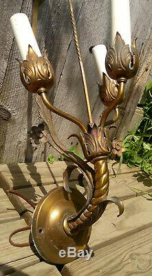 Pair Antique Gold Brass 3 Light Floral Theater Wall Sconces, Working