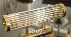 Pair Antique Old Vintage Art Deco Brass & Glass Rod Ship Light Wall Sconces Lamp