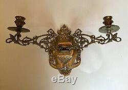 Pair Antique Solid Brass Piano Wall Candle Sconce Double Arms Adjustable Filigre