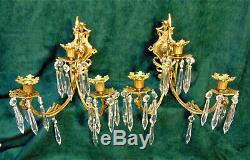 Pair Antique VIntage Gold Brass Wall Candle Sconces 3 Arm with Prisms