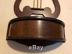 Pair Antique Victorian wooden gold Harp Lyre sconces wall planters metal pan 18