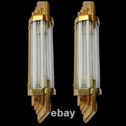 Pair Antique Vintage Art Deco Brass Milk Glass Rod Ship Light Wall Sconces Lamp