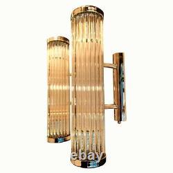 Pair Antique Vintage Art Deco Nickel Brass & Glass Ship Light Wall Sconces Lamp