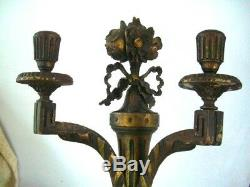 Pair Antique Vintage Gold Hand Painted Hand Carved Wooden Wall Sconces